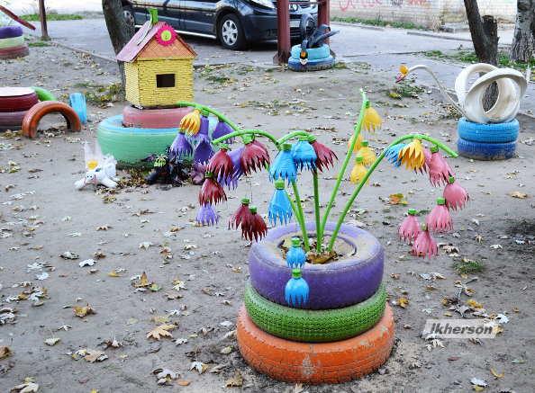 Фигуры для сада из пластиковых бутылок своими руками фото